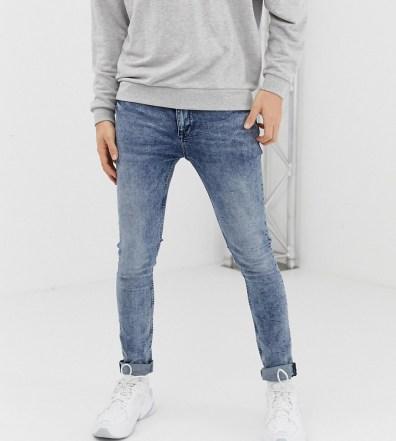 2b4d63ecc6 ASOS DESIGN super skinny jeans in vintage light wash with contrast ...