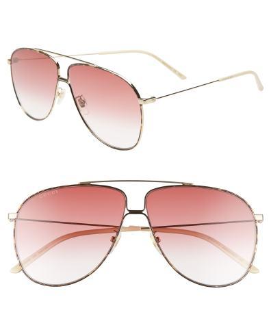 c33c1155605c6 Gucci 63Mm Oversize Aviator Sunglasses – Shny Endura Gld brn Grad ...