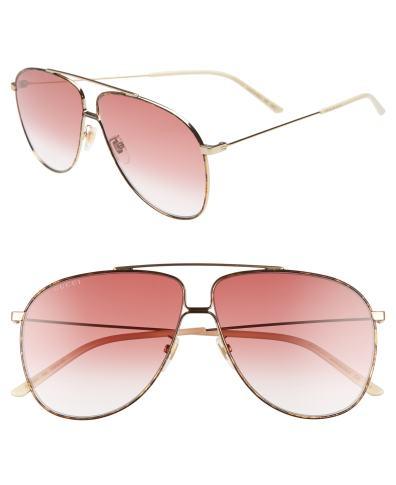2cafc510ed Gucci 63Mm Oversize Aviator Sunglasses – Shny Endura Gld brn Grad ...