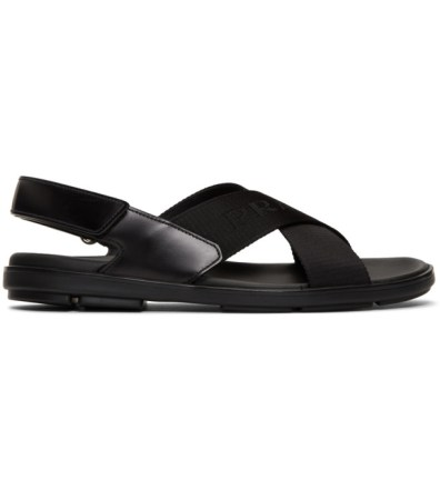 ae49f5784 Prada Black Logo Tape Ankle Strap Sandals