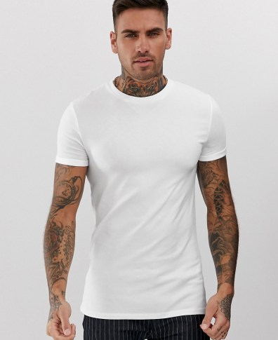 029493a092d9 ASOS DESIGN muscle fit crew neck t-shirt with stretch and roll sleeve in  white