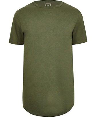 edf578440a20 River Island Mens Big and Tall green slim fit curve hem T-shirt ...