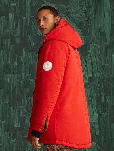 Scotch & Soda makes a case for red with its bold parka for fall.