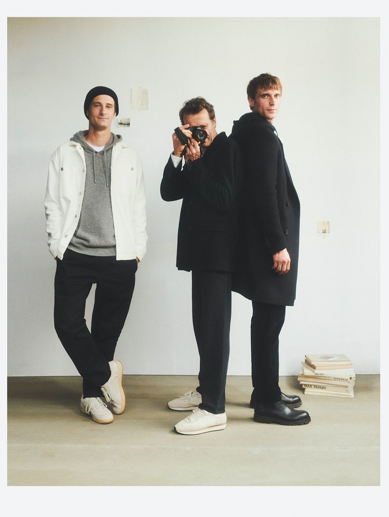 """Clèment Chabernaud poses with his brother and father for Mango's """"This is Family"""" campaign."""