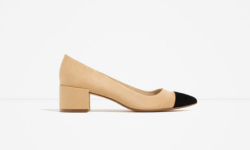 Heel Shoes with Contrasting Toe Cap