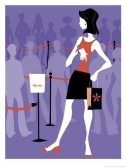 woman standing in a long line