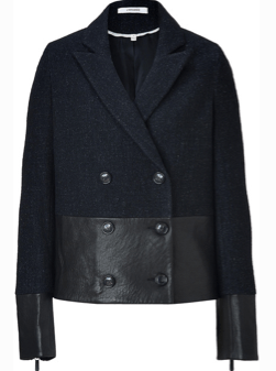 J Brand Black Leatherwool Alberta Pea Coat