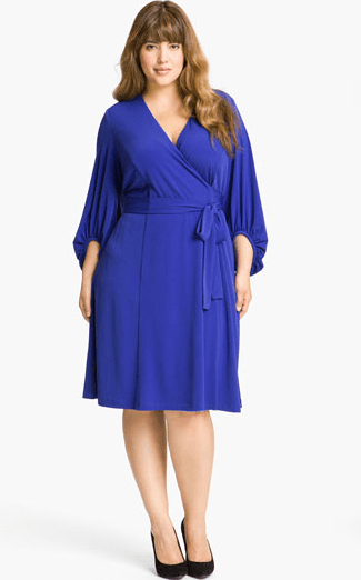 Donna Ricco Plus Size Faux Wrap Jersey Dress