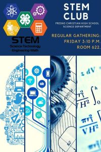 Regular meeting for STEM with be held on Fridays after school.