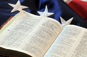 Bible on top of a US flag