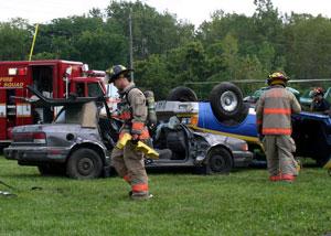 fire rescue auto accident scene