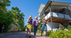 (L to R): Architect Nicole Ewing; Emma Thirkell, Tropical Green Building Network; and urban geographer Dr Lisa Law at a Studio Mango project in Cairns. Image: Romy Photography