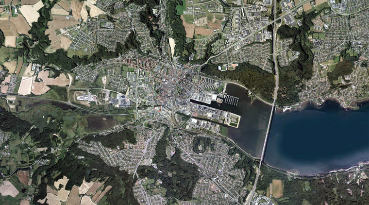 An aerial view of Vejle