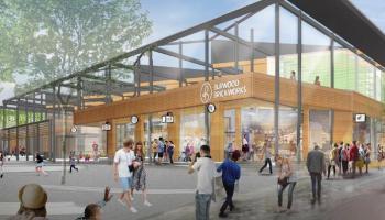 Brickworks shopping centre illustration concept