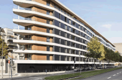 Aktiv-Stadthaus, a net zero residential building in Frankfurt, Germany of 11,700 m2, built in 2015.
