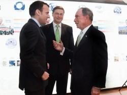 Emmanuel Macron, Valdis Dombrovskis and Michael Bloomberg