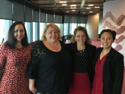 Jodie Taylor, Cath Brokenborough, Shelley Reys, and Romilly Madew at Because of Her, We Can breakfast in Barangaroo