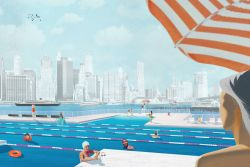 +POOL is an initiative to bring a floating swimming pool to the East River, in New York City, Renderings by Family, Courtesy + POOL
