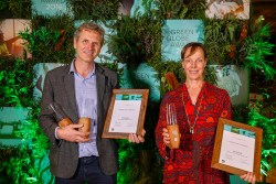 Neale Siebert and Christina Kirsch from ClearSky Solar Investment at the 2018 Green Globe Awards in Sydney