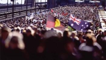 Australia Walk for reconciliation sydney harbor bridge