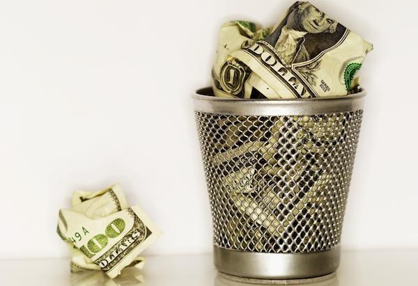 money mistakes - money in the bin image