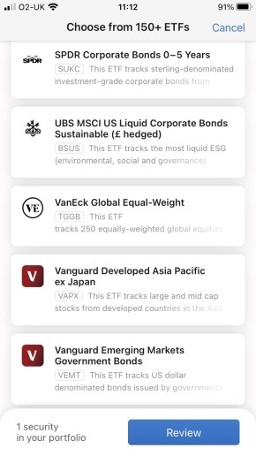 A picture of the ETF's found within the InvestEngine service