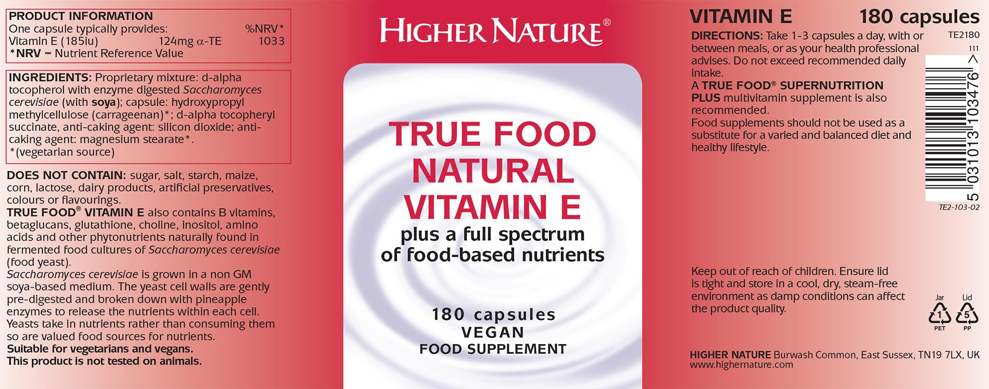 True Food Natural Vitamin E 30 Capsules 9 75 From The Finchley Clinic