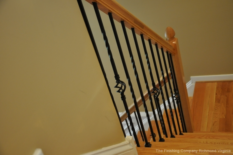 iron balusters on oak staircase