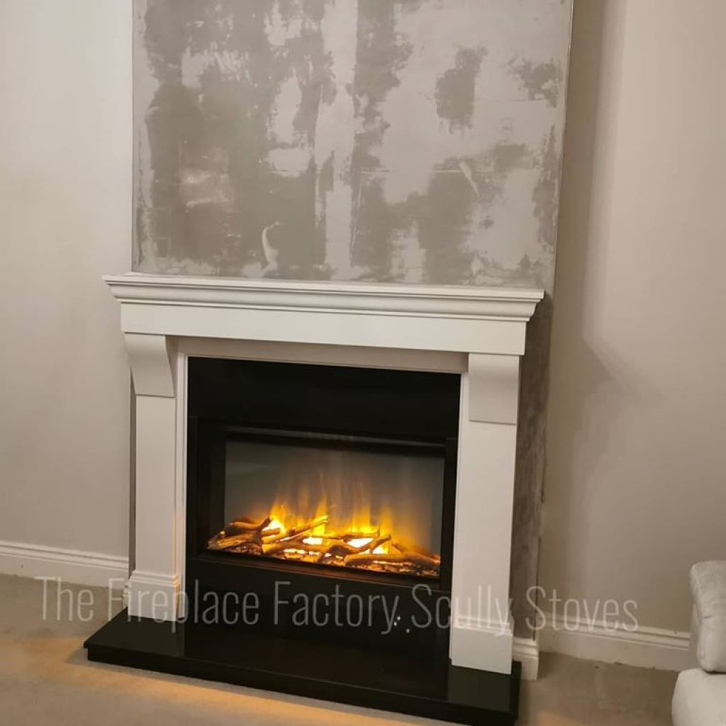 Evonics Electric fire in a white marble fireplace