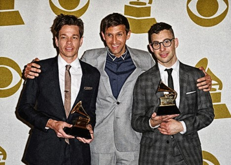 LOS ANGELES, CA - FEBRUARY 10: Musicians Nate Ruess, Andrew Dost, and Jack Antonoff of Fun. pose in the press room during the 55th Annual GRAMMY Awards at STAPLES Center on February 10, 2013 in Los Angeles, California. (Photo by Steve Granitz/WireImage)