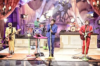 THE TONIGHT SHOW WITH JAY LENO -- Episode 4099 -- Pictured: (l-r) Musical guests OK Go perform with The Muppet's Animal on August 31, 2011 -- Photo by: Paul Drinkwater/NBC/NBCU Photo Bank