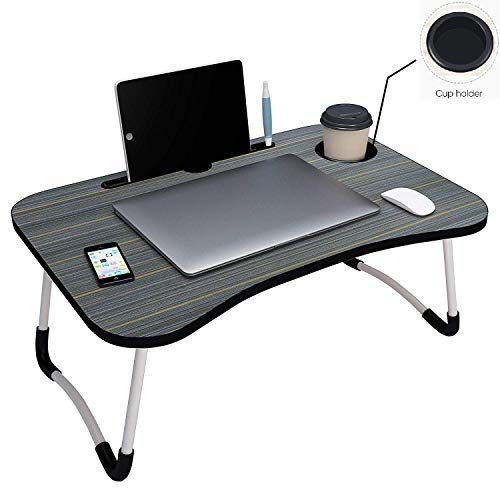 GLAMFLOX Multipurpose Foldable Laptop Table with Cup Holder, Study Table, Bed Table, Breakfast Table, Foldable and Portable/Ergonomic & Rounded Edges/Non-Slip Legs (Black)