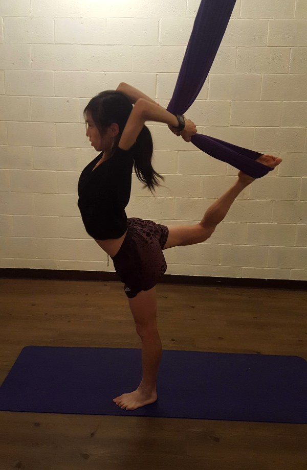 yoga, trapeze, needle, back-bend