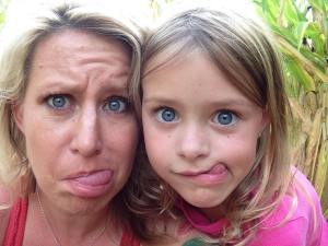 funny faces, mom and daughter