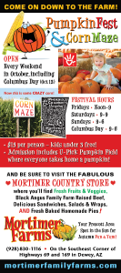 mortimers, dewey arizona, pumpkin fest, corn maze