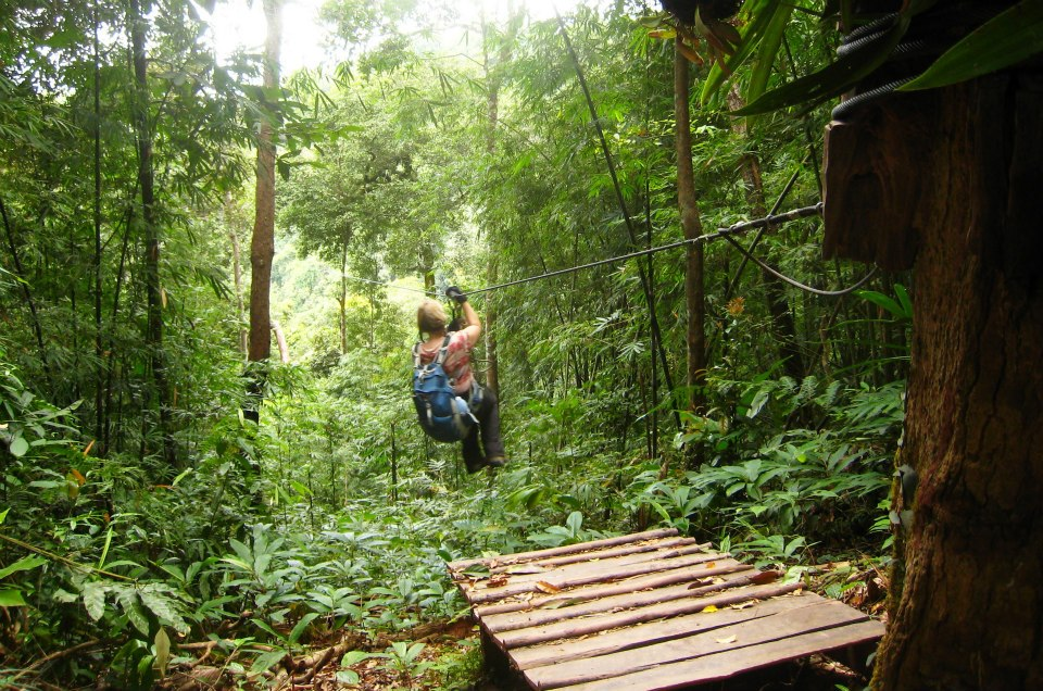ZIplining to a jungle treehouse with just the essentials (which includes a corkscrew)