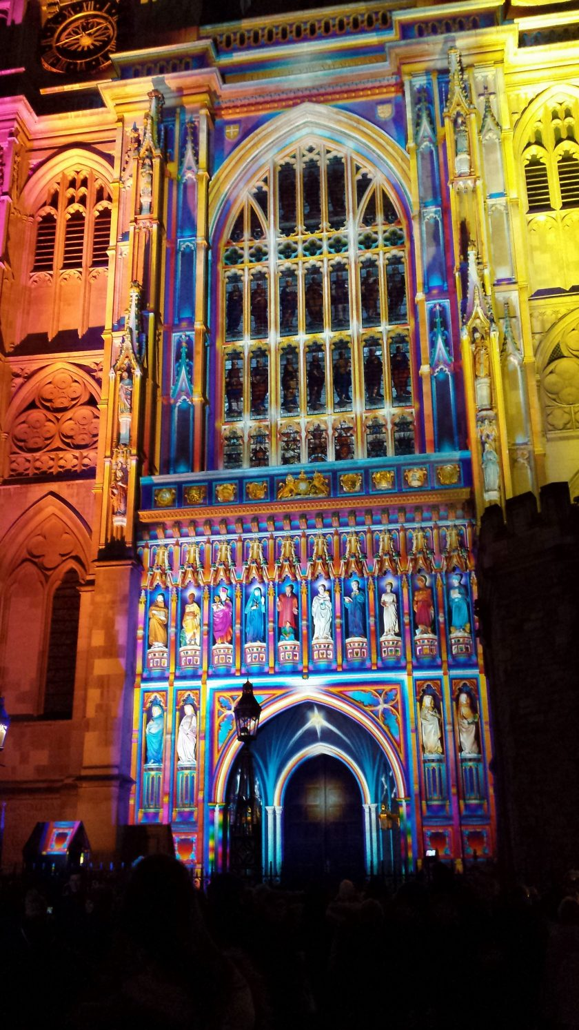 WESTMINSTER ABBEY WEST END LIT BY A GIANT OVERHEAD PROJECTOR