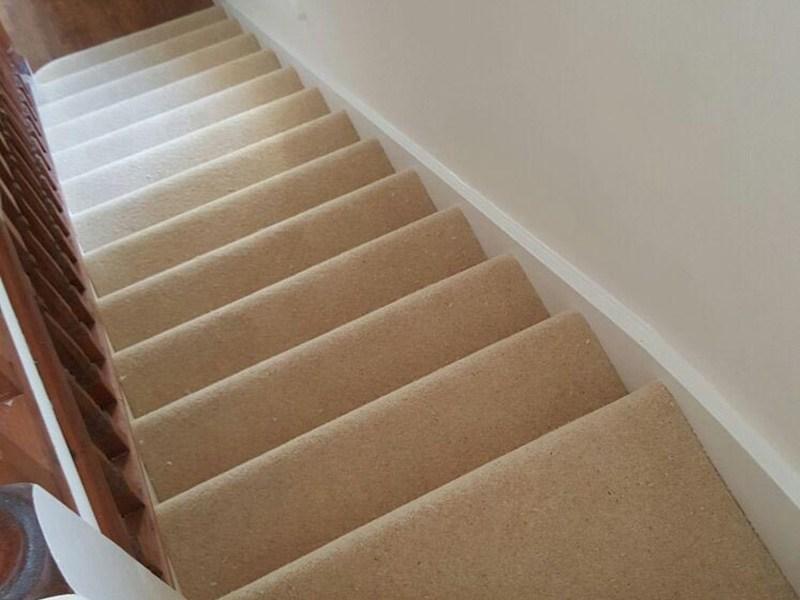 Stairs Portfolio Carpets The Flooring Group   Beige Carpet On Stairs   Pattern   Dark Beige   Nice   Bound Edge   Hardwood Transition