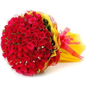 The FloralMart® Mother's Day Special Fresh Flower Bunch of 150 Red Roses in Paper Wrapping