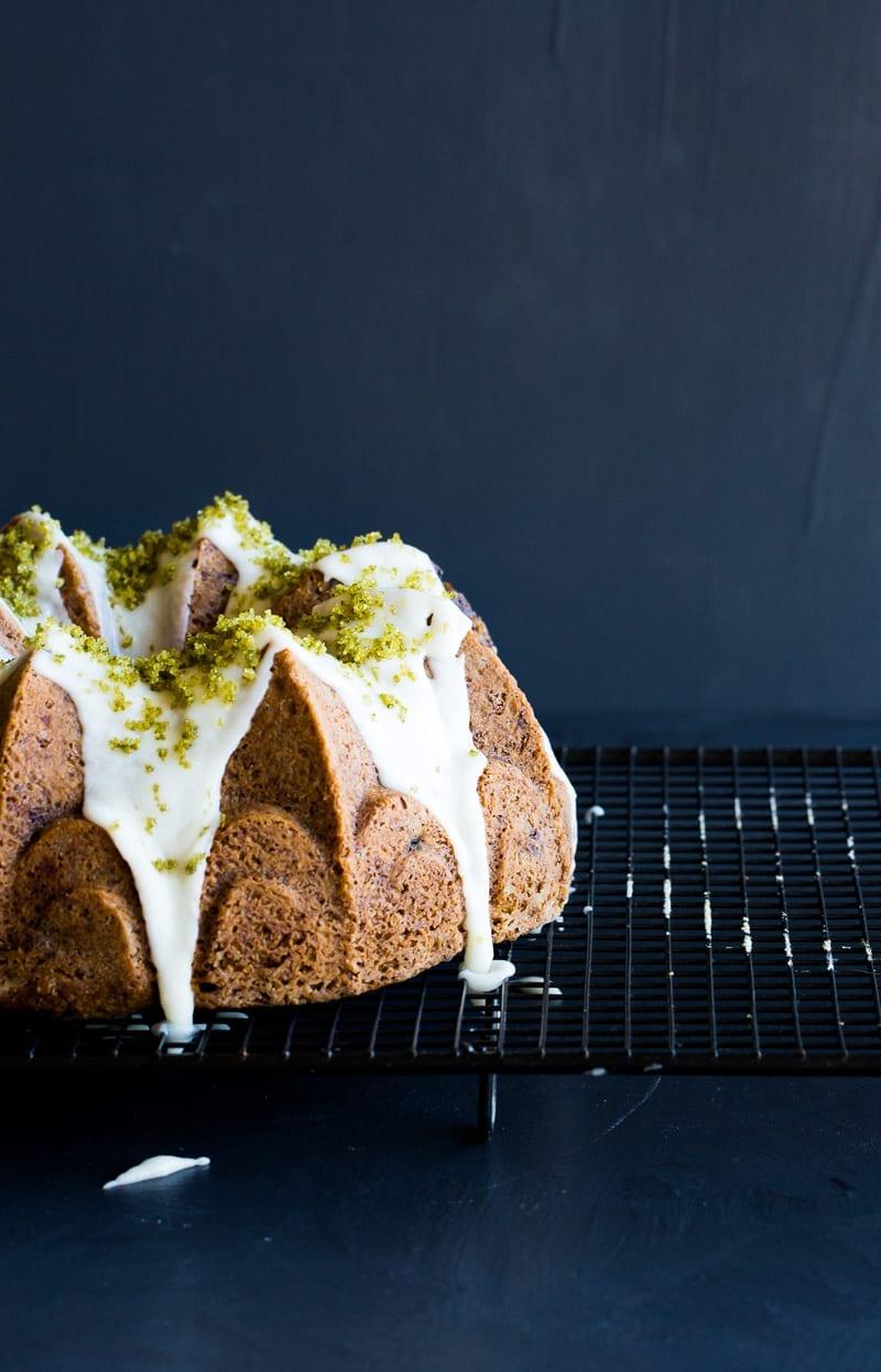Olive Oil, Almond Bundt Cake with Berries + Basil Sugar