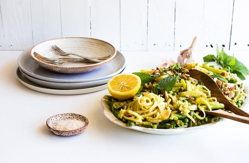 One Pan White Wine + Preserved Lemon Spring Pasta with White Beans, Mint + Almonds   The Floured Kitchen