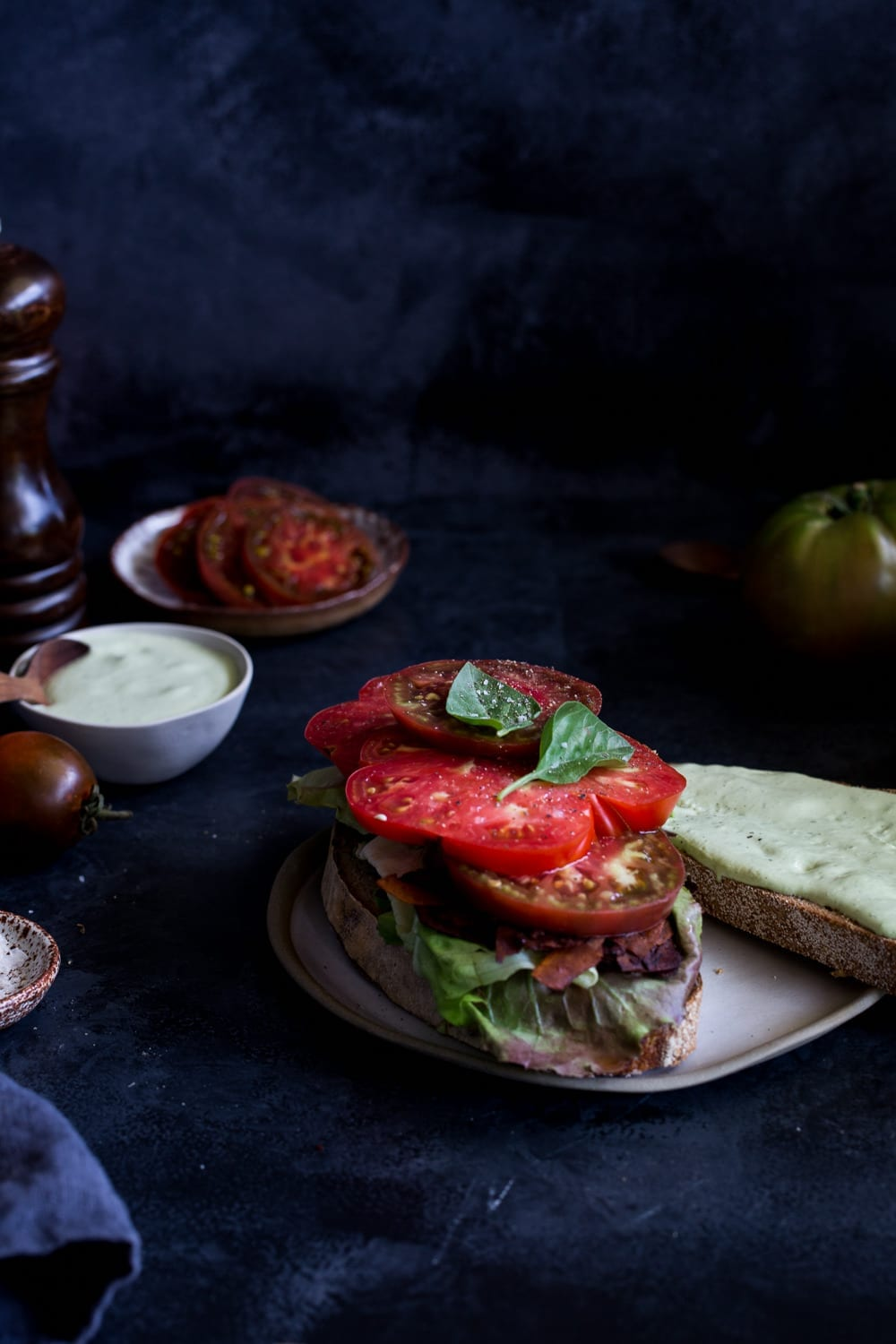 Vegan Heirloom Tomato BLAT with Coconut Bacon + Basil Mayo