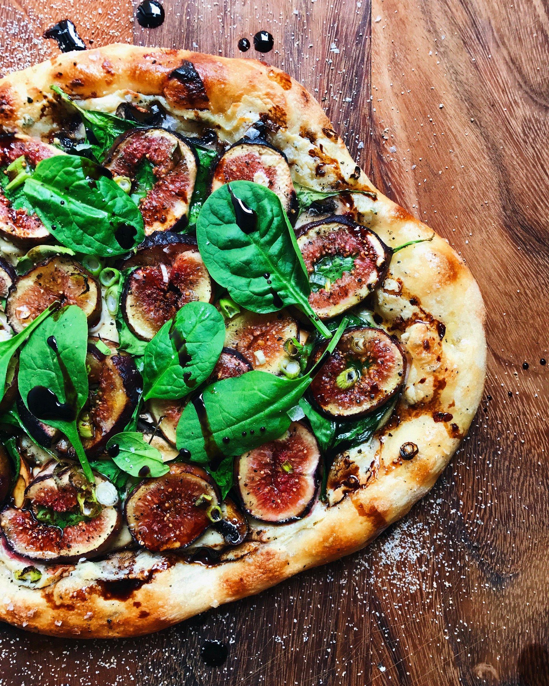 Fig, Swiss Brown Mushroom + Herbed Cashew Cheese Pizza {Vegan}
