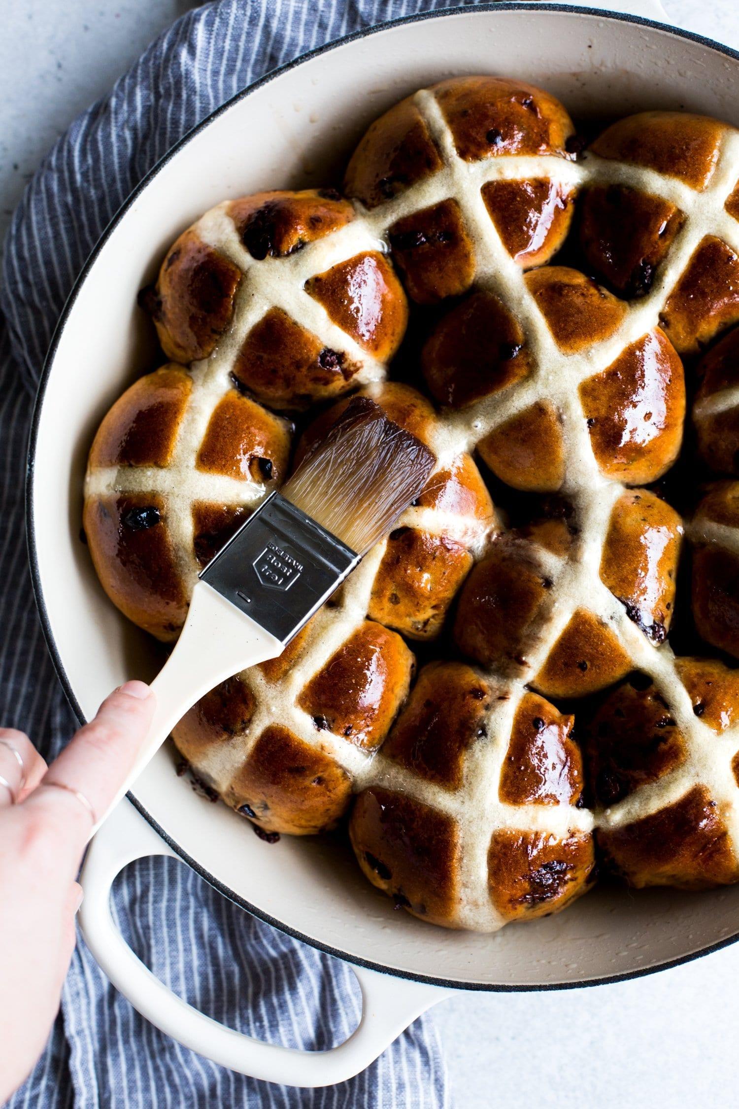 Vegan Hot Cross Buns with Dark Chocolate + Sour Cherries   The Floured Kitchen