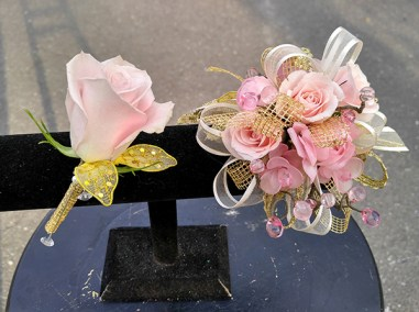 Prom Corsage and Boutonniere Pink Gold