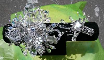Prom Corsage and Boutonniere Silver Sparkle