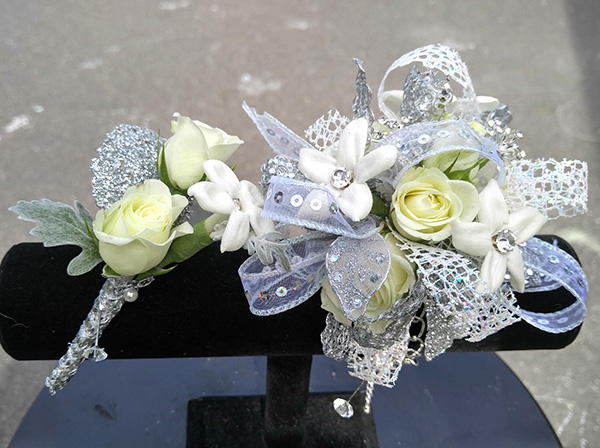 Prom the flower diva prom corsage and boutonniere white flowers mightylinksfo