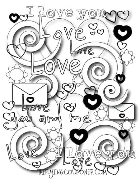 Colouring pages for adults and kids. Valentine's Day.