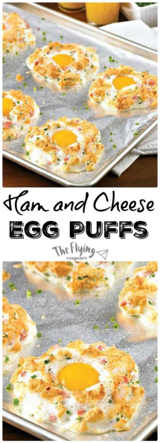 Ham and Cheese Egg Puffs. Easy Breakfast Recipes.