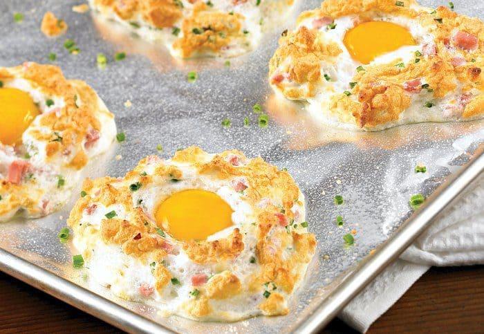 Ham and Cheese Egg Puffs. Breakfast recipe.